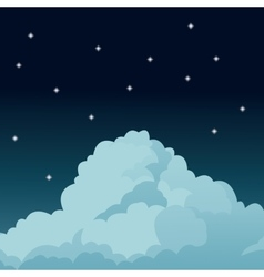 Night sky stars cloud vector