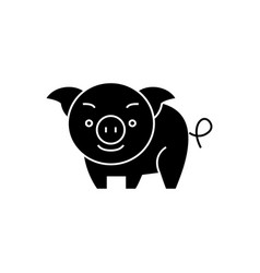 pig cute icon black sign on vector image