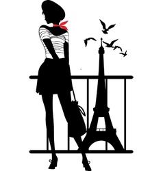 Retro woman silhouette vector image