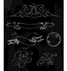 Ribbon stylized drawing with chalk vector