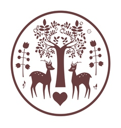 Round design with fantasy deer and tree vector