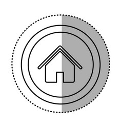 Round symbol house with roof and door icon vector
