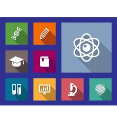 Set of flat education and science icons vector image vector image