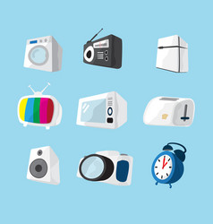 Set of home electronics appliances icon vector