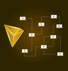 Tron blockchain on brown background vector