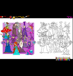 wizard characters group coloring book vector image vector image
