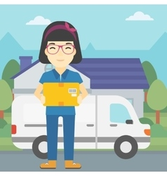 Delivery woman carrying cardboard boxes vector
