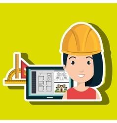 Woman architecture laptop plans vector