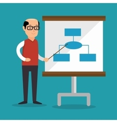 Businessman teach presentation work vector