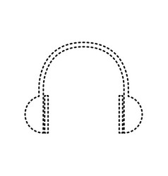 Headphones sign black dashed vector