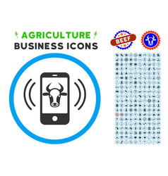Cow mobile control rounded icon with set vector