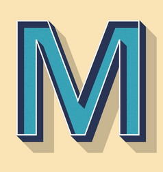 Letter m retro text style fonts concept vector