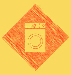 Washing machine sign  red scribble icon vector