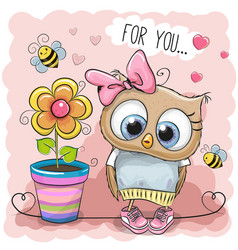 Cute cartoon owl with flower vector