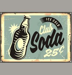 Club soda promotional retro tin sign vector