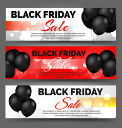 Black friday banners with balloons vector
