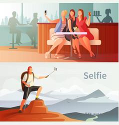 Modern people selfie set vector