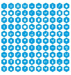 100 live nature icons set blue vector
