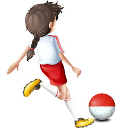 A soccer player with the Indonesian flag vector image
