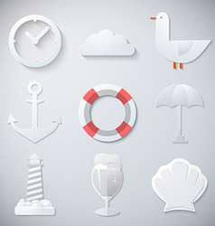 Paper summer sea travel weekend trip flat icon set vector