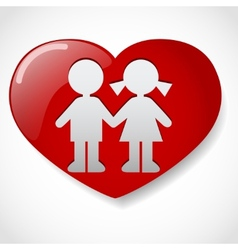 Boy and girl in the heart icon vector