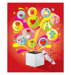 Gift box with love icons vector