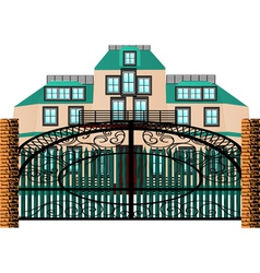 Brick mansion house vector
