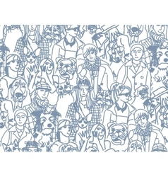 Big group people and pets gray seamless pattern vector