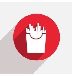 Modern french fries red circle icon vector