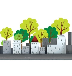 Buildings and trees on the road vector