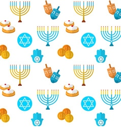 Happy hanukkah seamless pattern with dreidel game vector