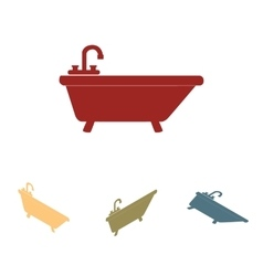Bathtub icon set isometric effect vector