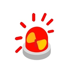 Siren red flashing emergency light isometric icon vector