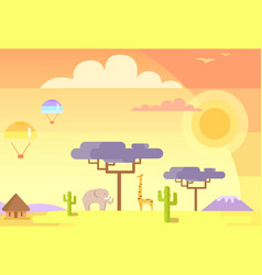African landscape with animals and specific plants vector