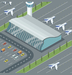 Airport building with planes vector