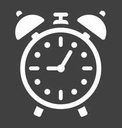 Alarm clock solid icon time and deadline vector