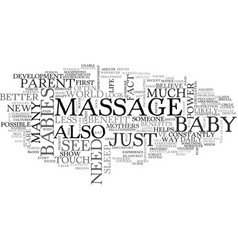 Benefits of a baby massage text word cloud concept vector
