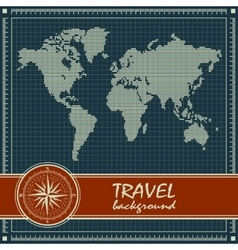 Blue retro travel background with world map vector image vector image