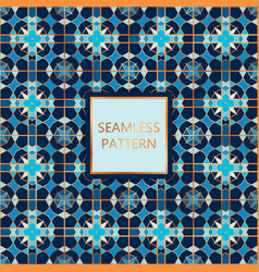 Blue seamless pattern with golden inserts vector