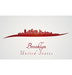 Brooklyn skyline in red vector image vector image
