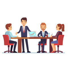 business meeting in office at conference table vector image vector image
