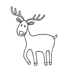 Cartoon christmas deer icon doodle vector