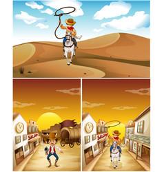 Cowboys in three different scenes vector