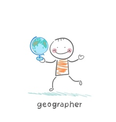 geographer is in the hands of the globe vector image vector image