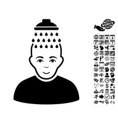 Head shower flat icon with bonus vector