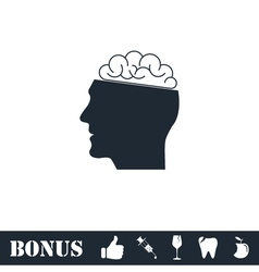 Human brain icon flat vector image vector image
