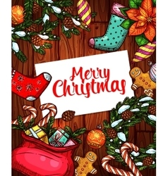 Merry christmas holiday sketched poster design vector