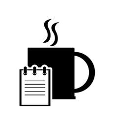 mug and notepad icon vector image vector image