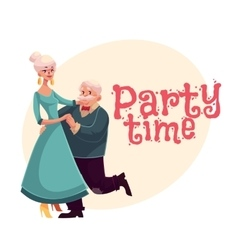 Old man and woman dancing cartoon invitation vector