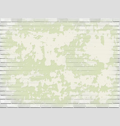Old white brick wall with green peeling plaster vector
